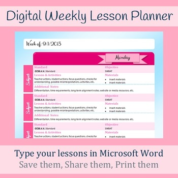 Digital Weekly Lesson Plan Template  Microsoft Word  Printable