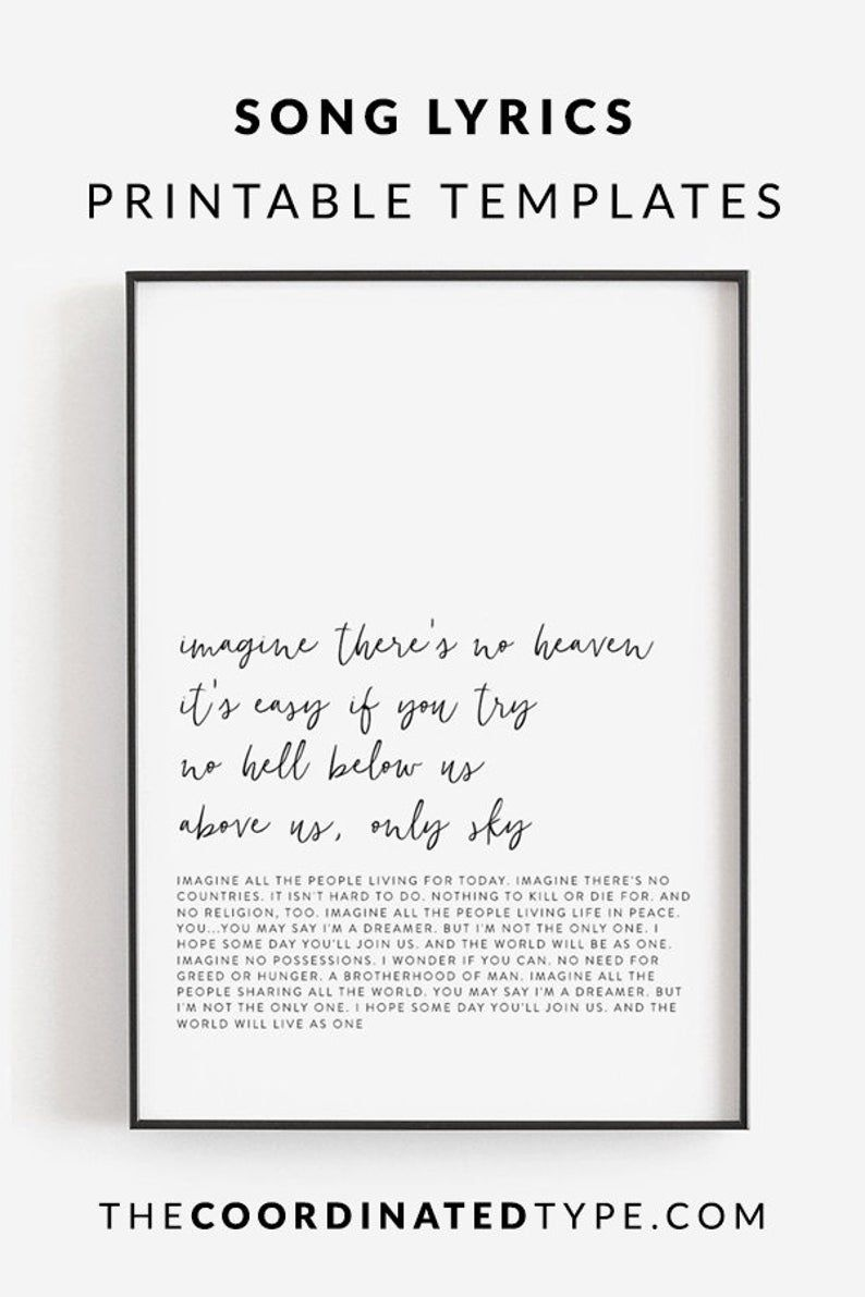 Picture Poster Quote Poster Photo Poster Custom Text Print Typographic Wall Art Design Custom Printed Poster Personalized Lyrics Print