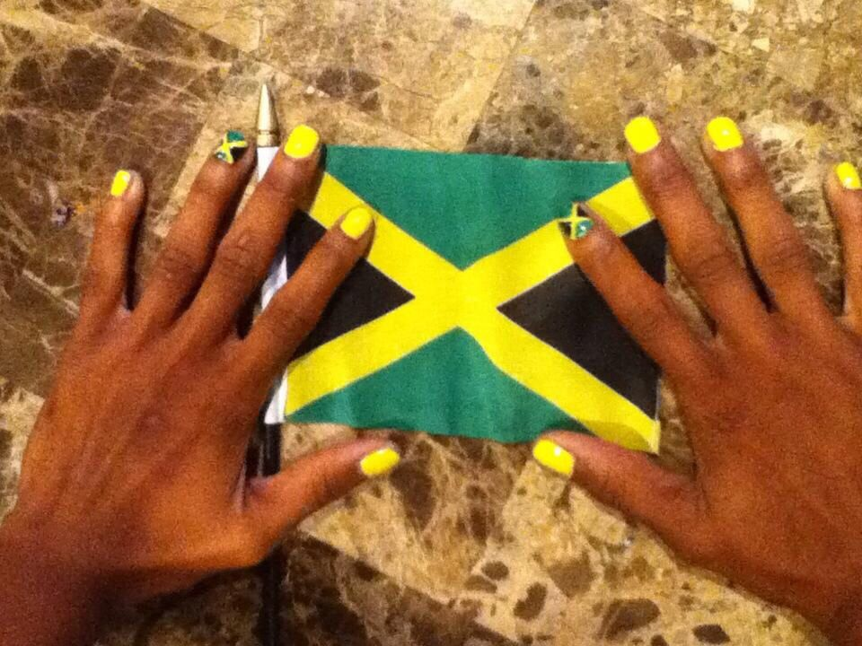 Jamaica flag nail art | nails | Pinterest | Jamaica flag, Flag nails ...