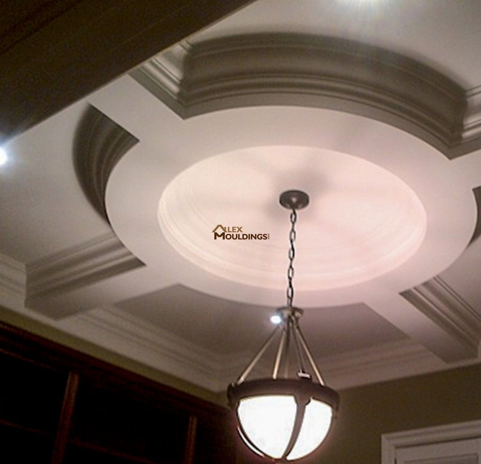 Circle hallway coffered ceiling design | Model Home  King ...