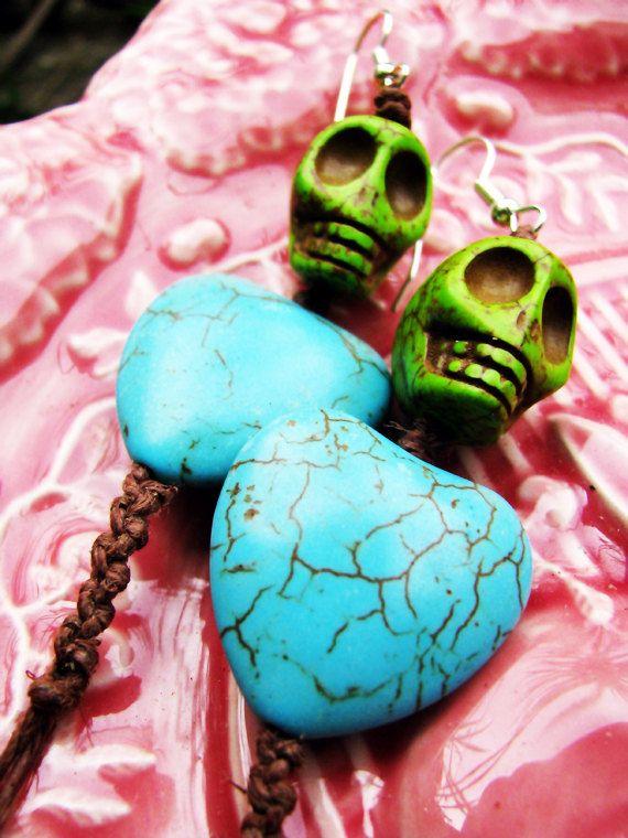 Gemstone Day of the Dead Skull Beaded Hemp by TheHempButterfly, $10.00