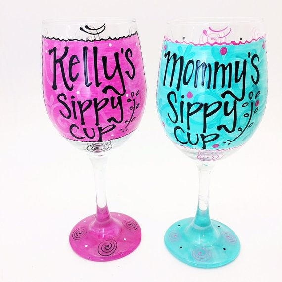 Pin for later!  Custom Name Sippy Cup Wine Glass / Mom Mommy / by AudraStyleArt