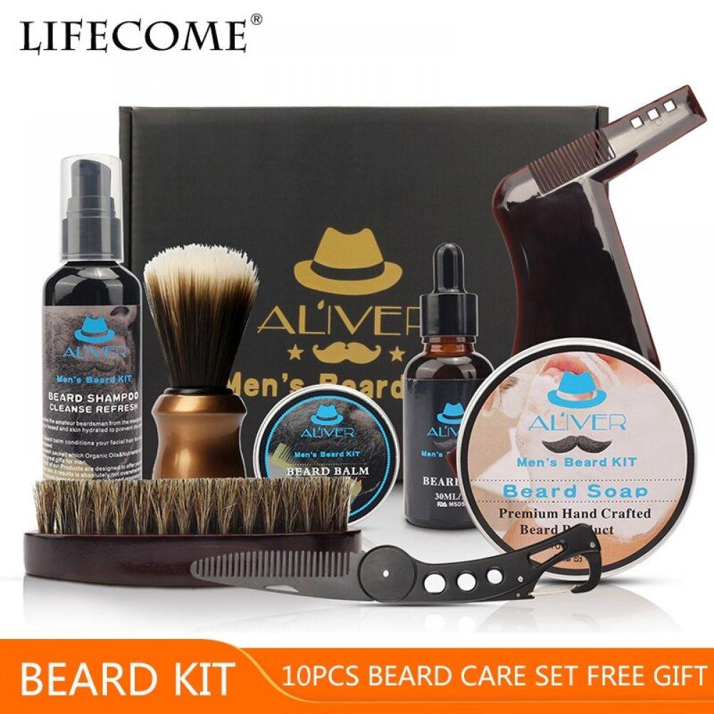 ALIVER 10pcs/set Barba Beard Kit Template Comb Beard Oil