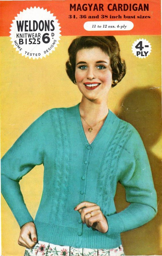 Vintage 1950s Knitting Pattern Magyar Cardigan Sleeves Body All