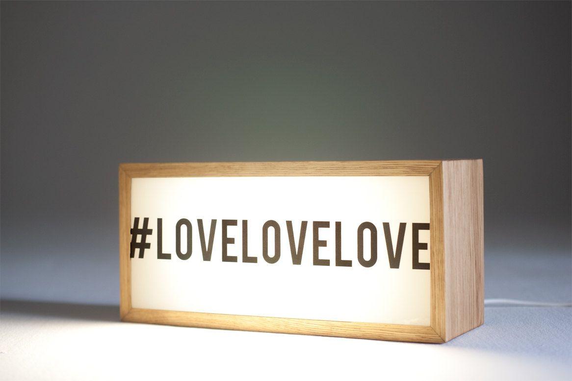 LOVELOVELOVE lightbox with natural wood frame. #lightbox #signage ... for Light Box Branding  557ylc