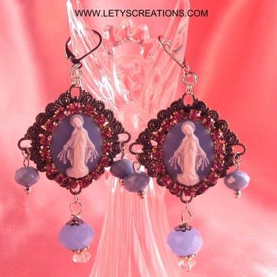 Catholic Virgin Mary Our Lady Miraculous Medal Cameo Religious Medal Earrings www.letyscreations.com
