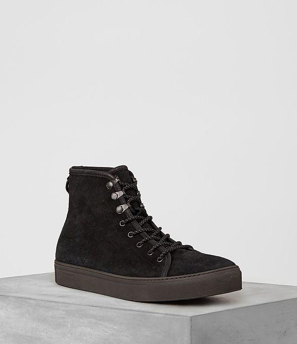 Mens Point Hi-top Sneaker (Black Suede