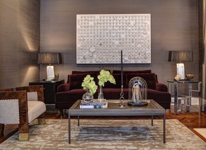 couleur gris taupe pour salon moderne et desin et canapé bordeaux - couleur pour salon moderne