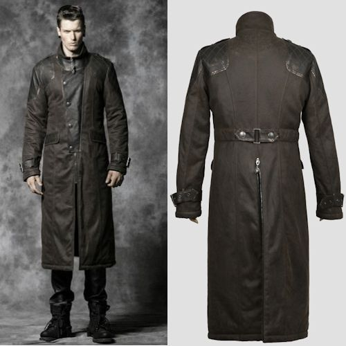 Khaki Leather Double Breasted Military Gothic Style Trench Coats ...