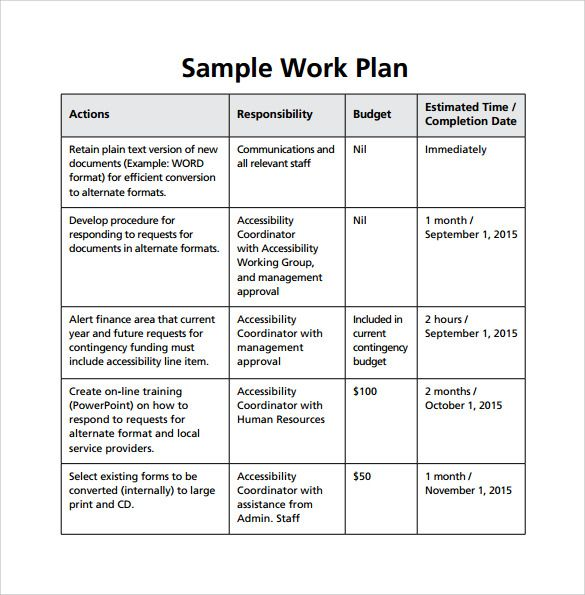Image Result For Work Plan Template