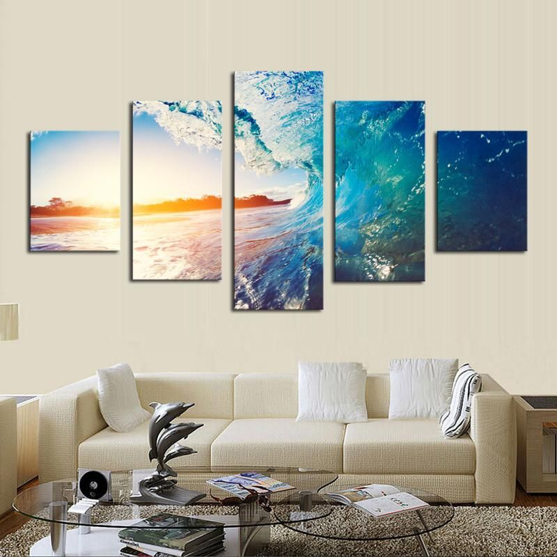 Canvas set landscape modern traditional five panels horizontal print wall decor home decoration pinterest sunset panel art and also rh