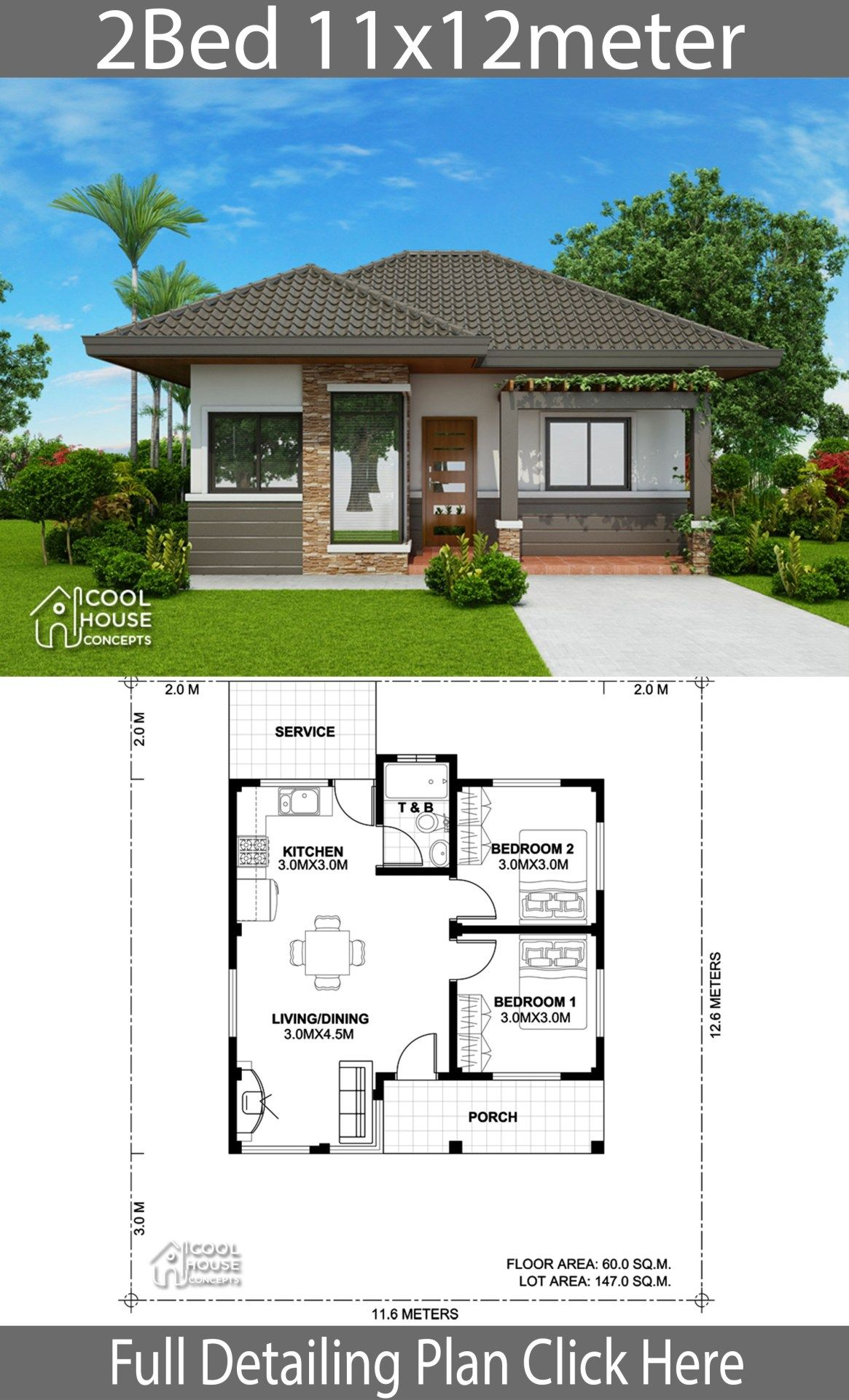 Home Design Plan 11x12m With 2 Bedrooms Home Design With Plansearch Bungalow House Plans Simple House Design House Design