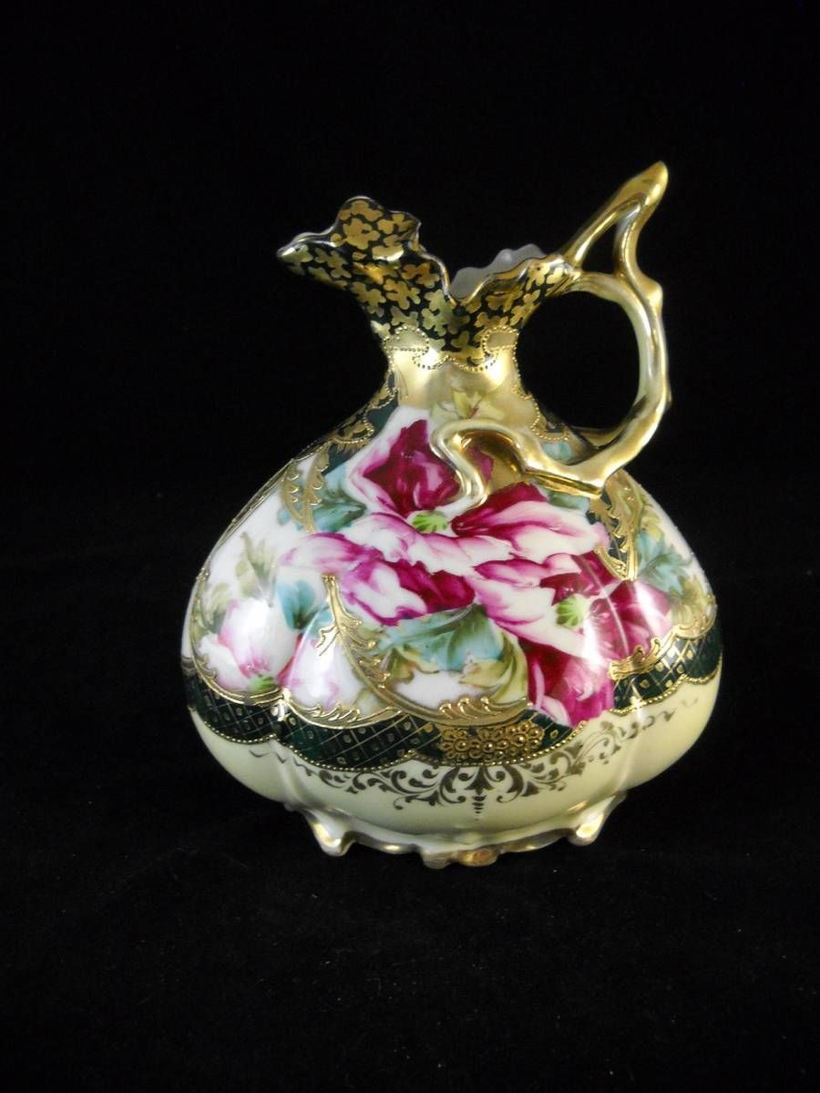 Vintage nippon hand painted 7 12 covered cheese dish flowers vintage nippon hand painted moriage floral pitcher ewer vase with gold overlay reviewsmspy