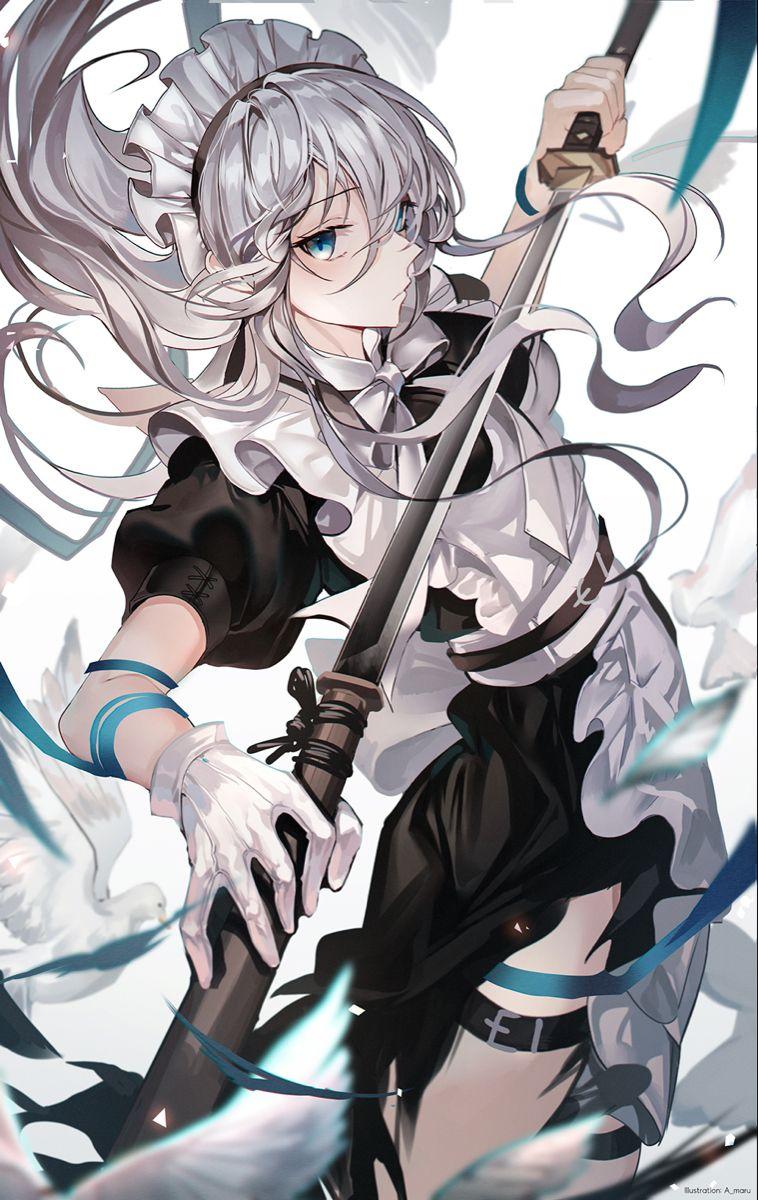 メイド 白髪 東方 かわいい アニメキャラクター 刀を持った女の子
