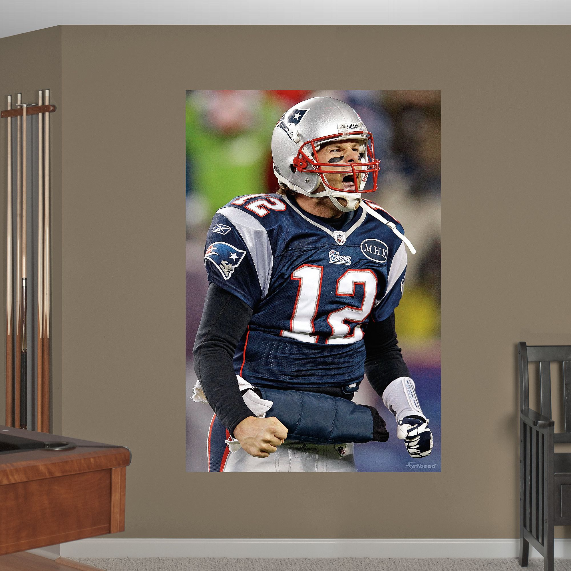 Tom Brady Flex - In Your Face Mural | New England Patriots Wall Decal : new england patriots wall decals - www.pureclipart.com
