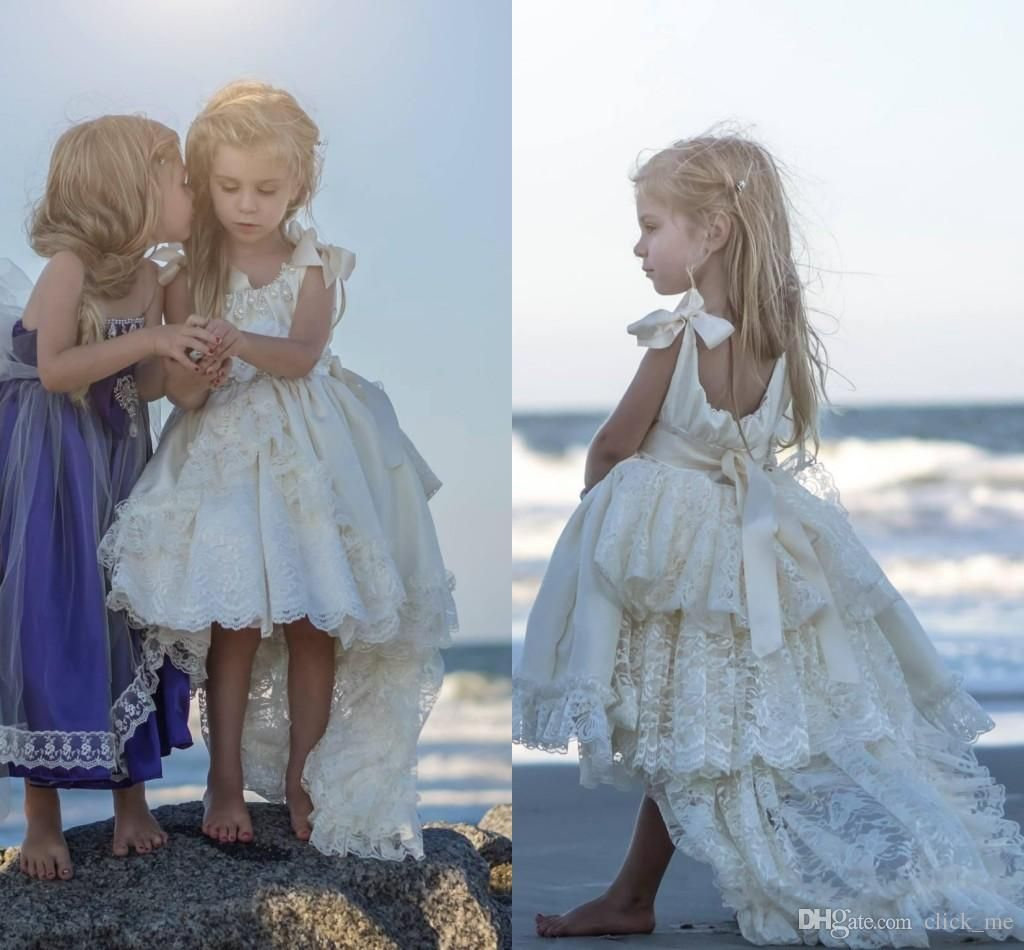 b0e8884c932c High Low Flower Girls Dresses Ivory For Wedding Layers Lace Ribbon ...