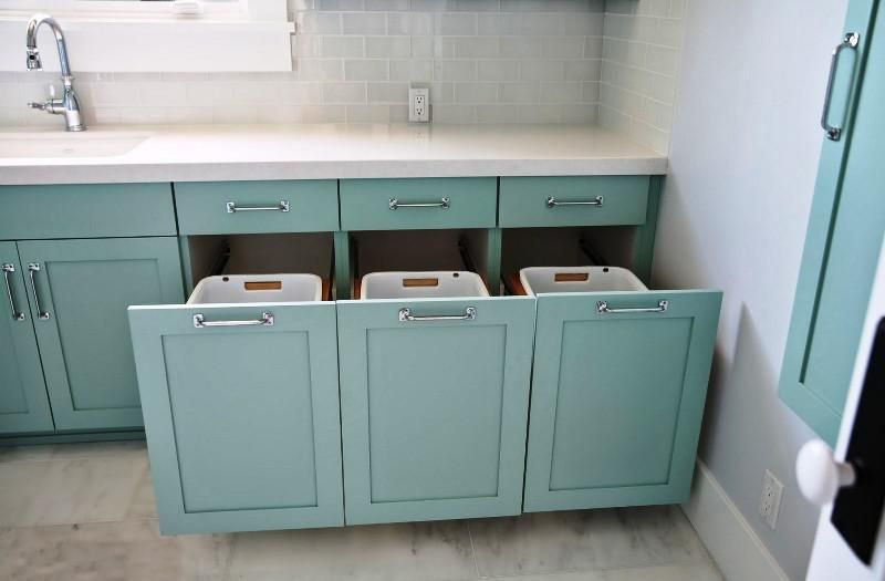 Bathroom Vanity With Laundry Hamper Cabinet 3 Sections Small