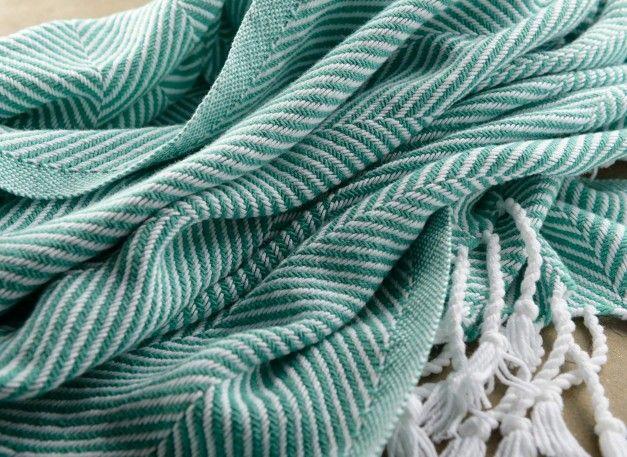 Cotton Herringbone Throw in White/Viridian