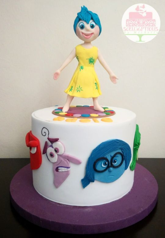 Inside Out Cake With Joy Topper With Images Inside Out Cakes