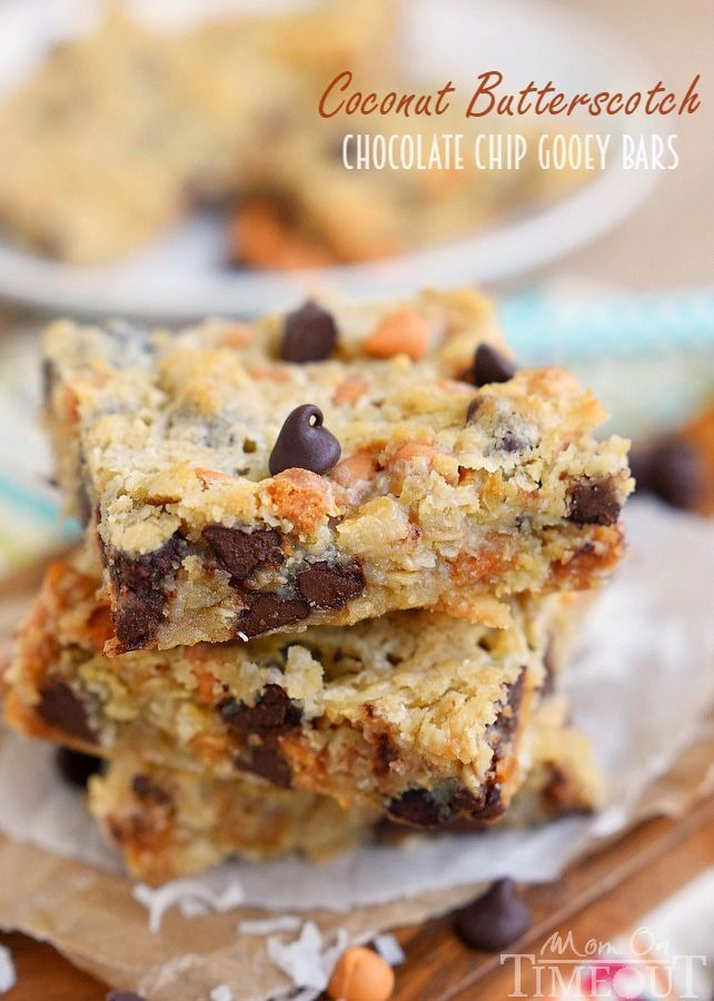 These Coconut Butterscotch Chocolate Chip Gooey Bars recipe are sure to be a hit! This easy dessert recipe is just perfect for potlucks, picnics, road trips and more! | MomOnTimeout.com