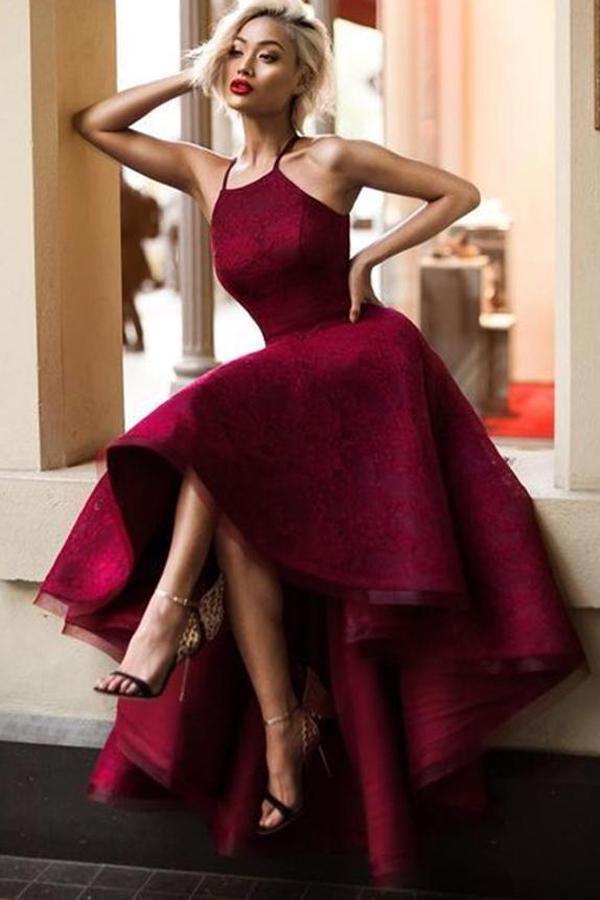 cccc8a488ff5 Charming Burgundy A Line Asymmetrical Lace Sleeveless Long Prom Dress OKA24