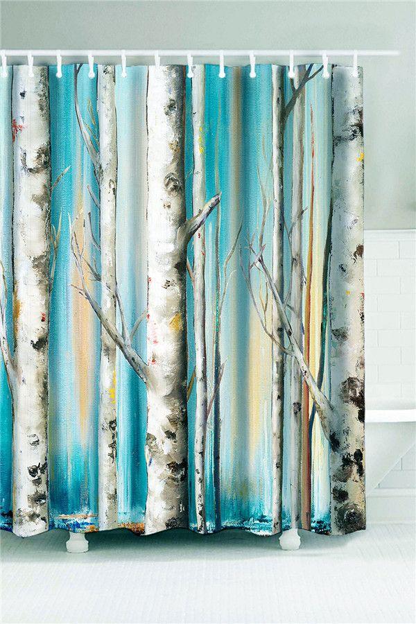 winterly forest print waterproof shower curtain cyan w71 inch l71 inch