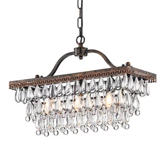 Buy The 3 Light Antique Bronze Rectangle Crystal Chandelier Glam