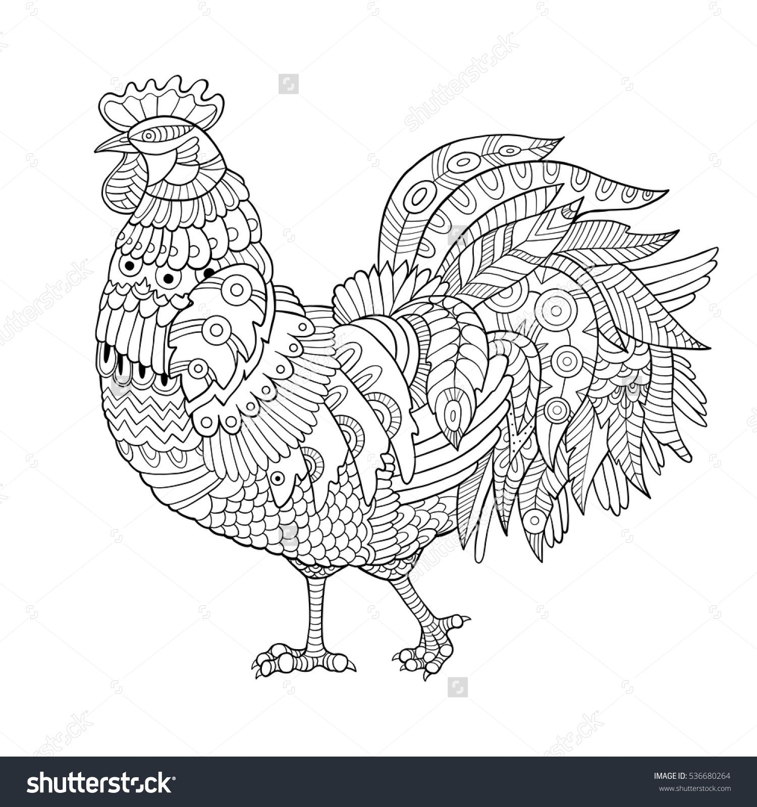 Coloring Pages For Adults Rooster : Rooster coloring book for adults vector illustration anti