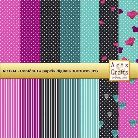 Kit contendo 14 papeis digitais em cores diversas em poá, listras e estampas,  à venda nos sites: http://www.artscrafts.com.br/ e http://www.cortecrie.com.br/