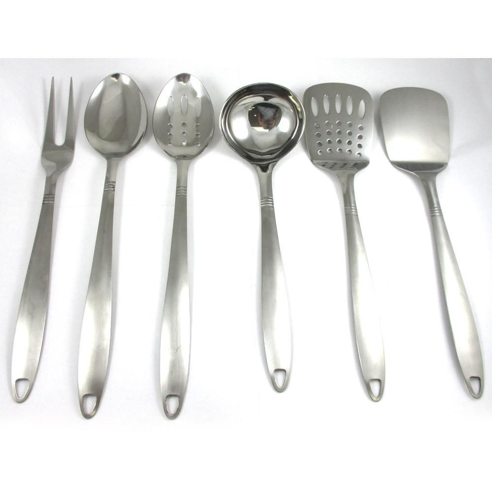 6 Stainless Steel Kitchen Cooking Utensil Set Serving Tools Server ...