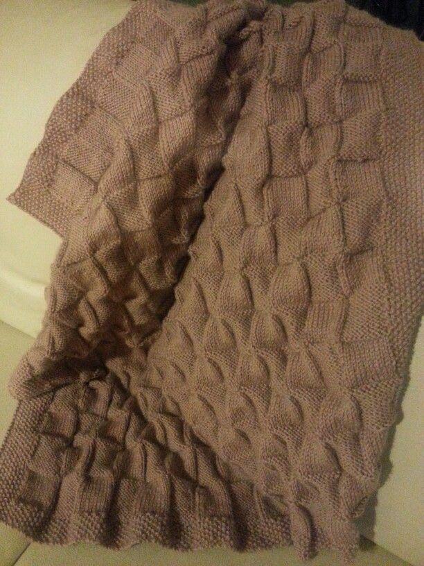 Basket weave double knit wool baby blanket.