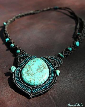 A mano única aretes vintage Bohemian look amazonit /& semipreciosa piedra bronce