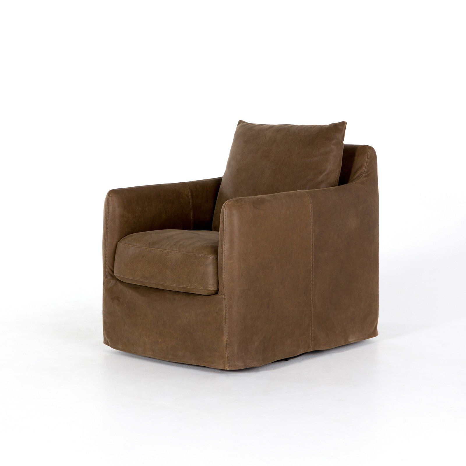 Four Hands Banks Upholstered Swivel Accent Chair Leather Swivel