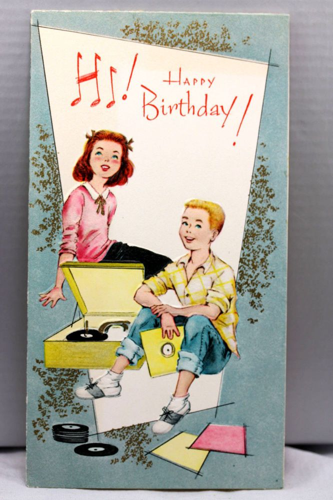1960s Birthday Greeting Card VintageTeenage Boy Girl Listening To Records Music