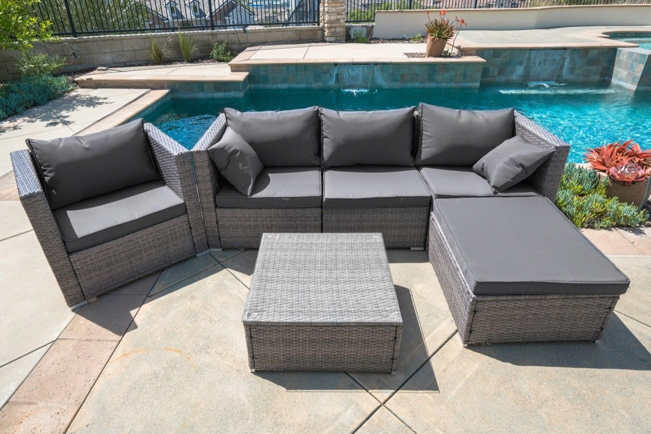 6pc Outdoor Patio Patio Sectional Furniture Pe Wicker Rattan Sofa