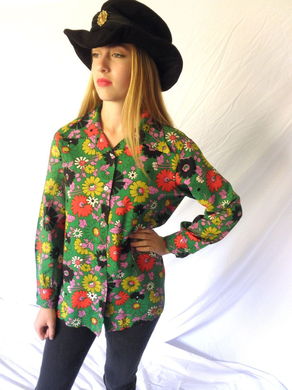 ad8739d5249db7 Vintage 70s Hippie Chick Floral Ladies Shirt Polyester Long Sleeved Blouse  Hip Boho Flower Power Jackpot Jen by JackpotJen on Etsy
