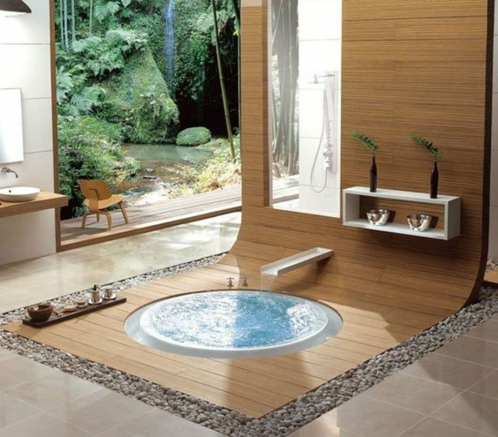 traumbad mit naturmaterialien holz und naturstein Badezimmer - holz für badezimmer