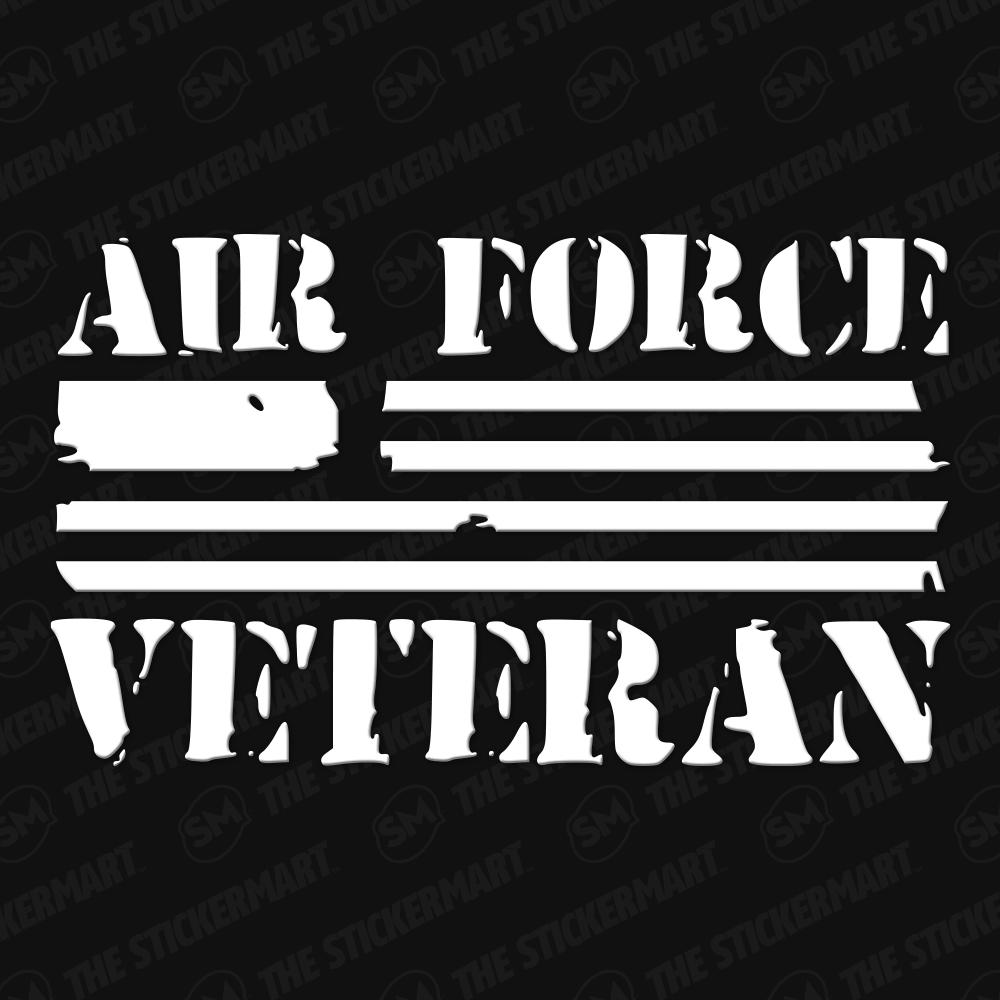 Air Force Veteran, Flag Vinyl Decal Military Decals