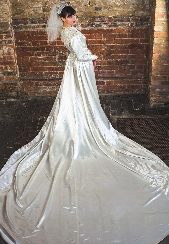 1930年代アイボリー ロングとレーンヴィンテージウェディングドレス S/M ...