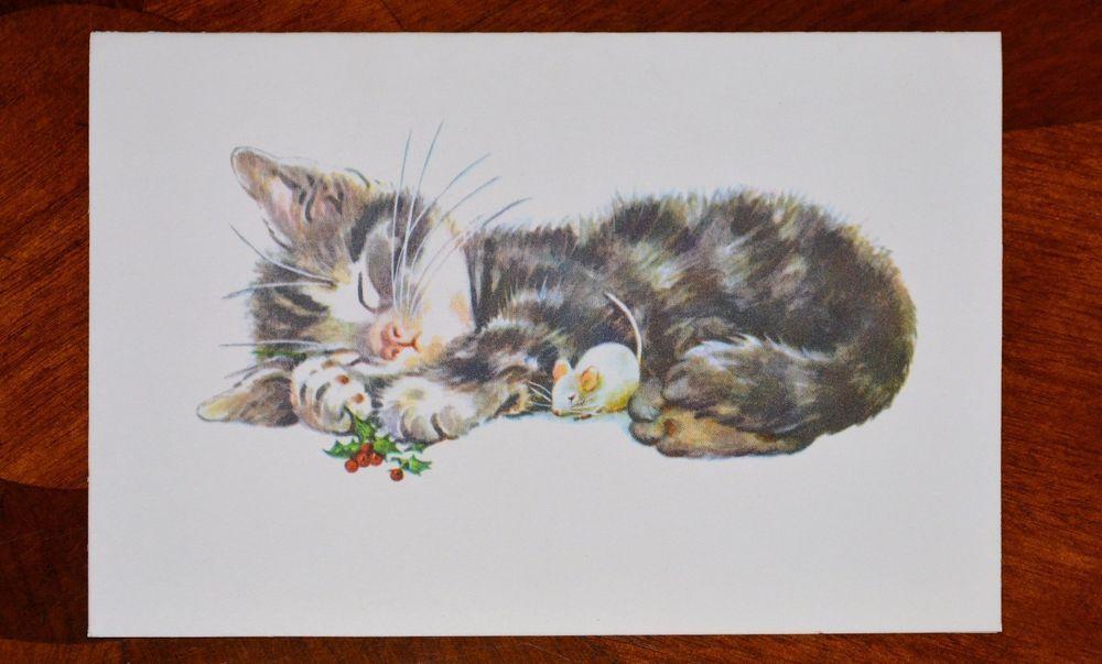 vintage unused christmas card kitten kitty cat hattie wentworth kristin elliott