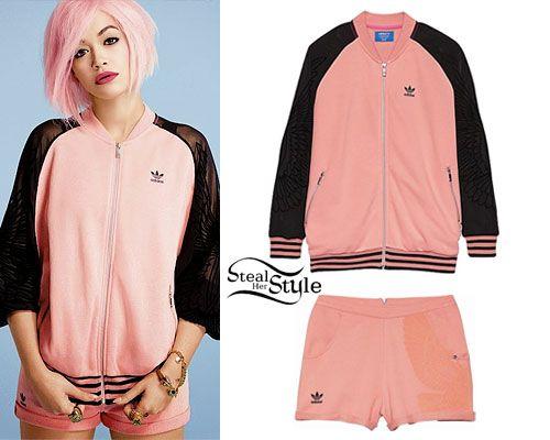 Rita Ora: Pink Adidas Jacket & Shorts in 2019   Adidas