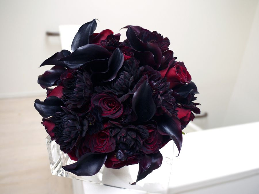 Black Wedding Bouquets Bouquet With Baccara Roses Cosmos Dahlias