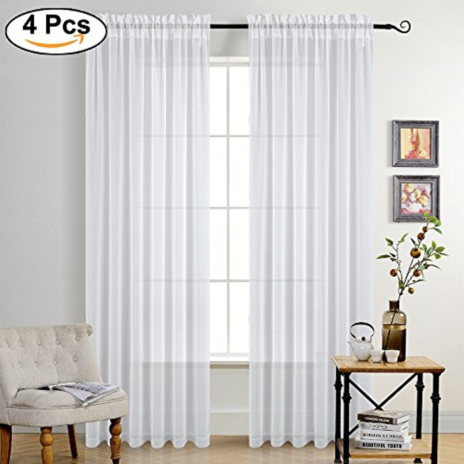95 Inches Linen Look Sheer Curtains Rod Pocket Design Thick Semi