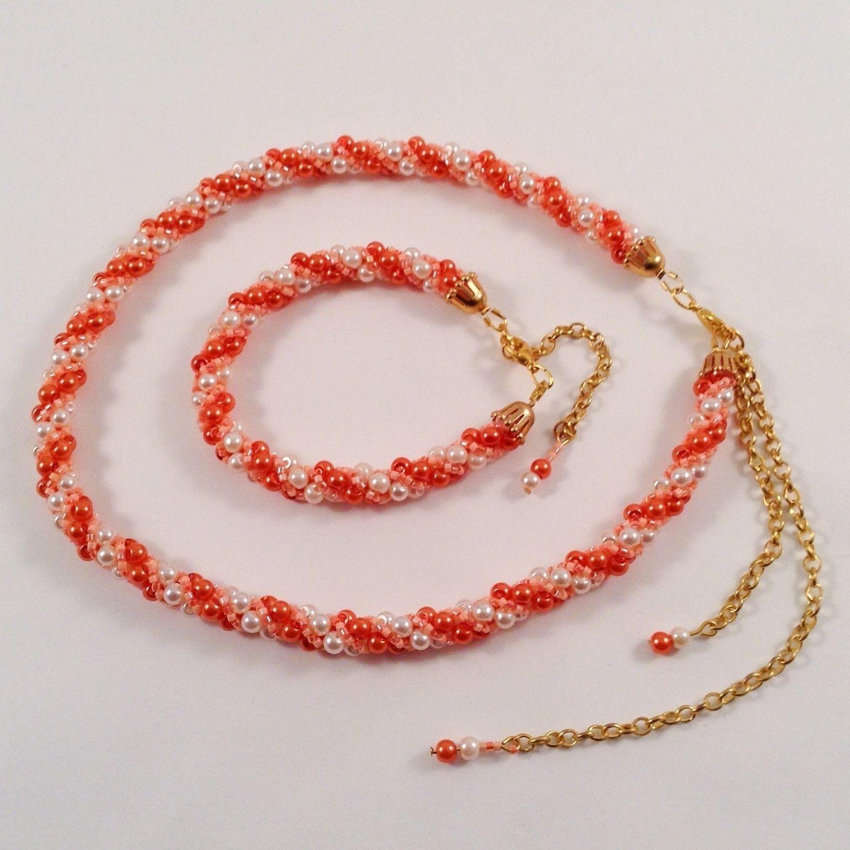 parure collier et bracelet orange adn en perles tiss es mod le unique fait main par jeswindra. Black Bedroom Furniture Sets. Home Design Ideas