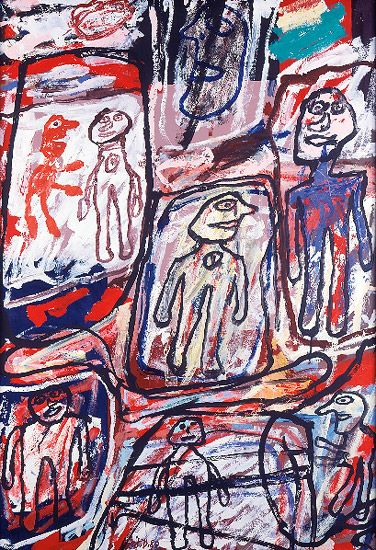 French artist Jean Dubuffet – LA VIE COURANTE – 40 3/8 by 28 in. 102.6 by 71.1 cm