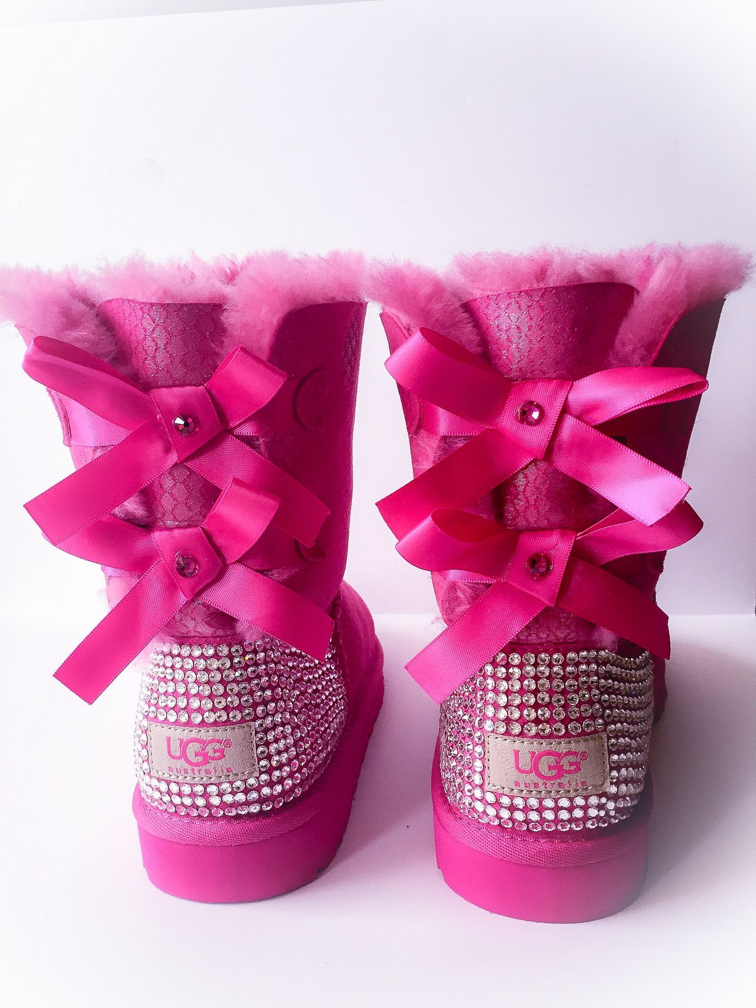 958a5a62552 UGG Bailey Bow Exotic Scale Swarovski Bling Boot - Pink | I want ...