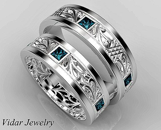Matching Wedding Band Set His And Hers Blue Diamond Unique Princess Cut Ring By Vidarjewelry