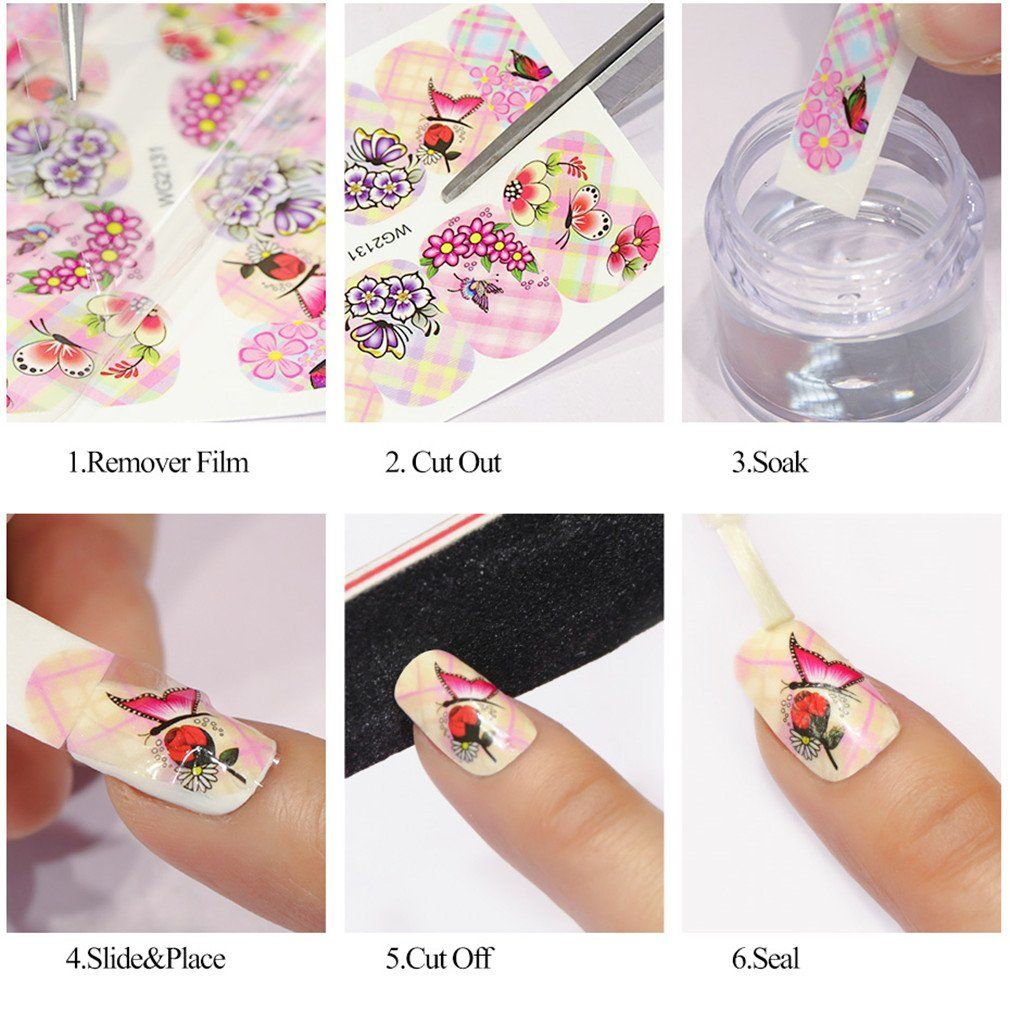 6 Designs In 1 Chic Flower Ail Art Full Wraps Nail Foils Nail Art Sticker Decals Water Transfer Tips Nails Art & Tools