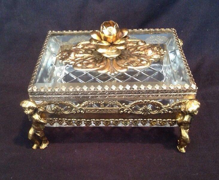 Vintage Ormolu Filigree Beveled Glass Jewelry Box Casket Flowers