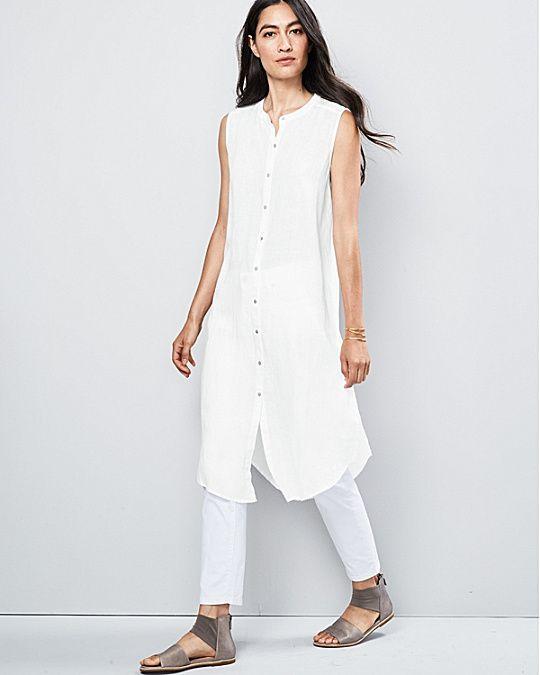 Eileen Fisher Organic Handkerchief Linen Sleeveless Tunic Fashion Eileen Fisher Eileen Fisher Dress